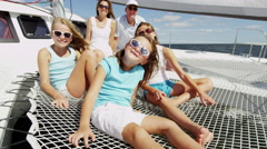 Healthy Caucasian Parents Daughters Outdoor Living Luxury Yacht Travel Insurance Stock Footage