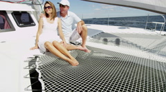 Caucasian Male Female Couple Together Luxury Lifestyle Yacht Tourism Promotion - stock footage