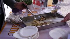 Cooking the Casonsei, italian stuffed pasta Stock Footage