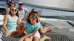 Smiling Caucasian Family Female Siblings Ocean Yacht Freedom Living Investment - stock footage