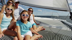Caucasian Family Group Together Luxury Lifestyle Yacht Tourism Insurance Stock Footage