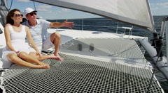 Loving Caucasian Male Female Couple Luxury Yacht Success Stock Footage
