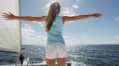 Sailing Yacht Caucasian Young Girl Recreation Leisure Outdoor Travel Insurance - stock footage