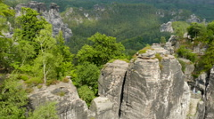Bastei cliffs. Elbe Sandstone Mountains. Saxon Switzerland National Park Germany - stock footage