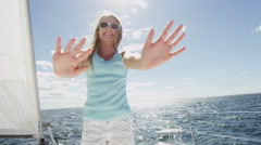 Female Child Portrait Outdoor Carefree Sailing Boat Childhood Tourism Promotion - stock footage