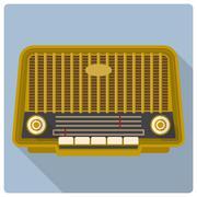 Retro vintage radio vector icon - stock illustration