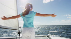 Travel Tourism Advertisement Cute Caucasian Girl Sailing Luxury Boat Ocean Sun - stock footage