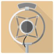 Retro vintage microphone vector icon - stock illustration