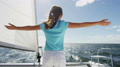 Caucasian Female Child Sailing Yacht Insurance Vacation Sunshine Outdoors Stock Footage