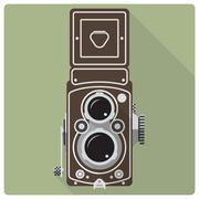 Vintage twin lens reflex camera vector icon Stock Illustration