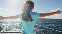 Happy Cute Caucasian Girl Casual Summer Clothes Enjoying Luxury Yacht Travel Stock Footage