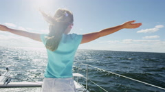 Female Child Outdoor Carefree Freedom Sailing Yacht Childhood Tourism Promotion - stock footage