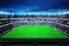 upper view on modern football stadium with fans in the stands - stock illustration