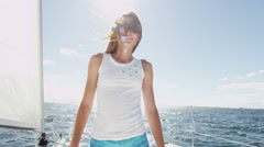 Stock Video Footage of Portrait Travel Tourism Advertisement Cute Caucasian Girl Luxury Boat Ocean Sun