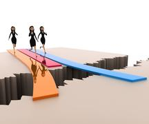3d woman going to fall into crack concept - stock illustration