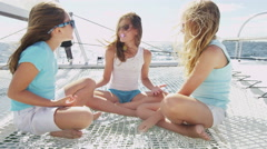 Teenage Girl Luxury Lifestyle Sailing Boat Fun Freedom Travel Health Insurance - stock footage