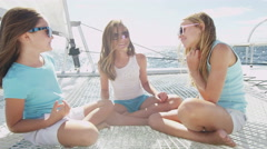Female Children Outdoor Carefree Sailing Boat Childhood Tourism Promotion - stock footage