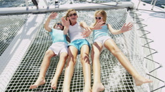 Travel Tourism Advertisement Young Caucasian Sisters Luxury Boat Ocean Sun Fun - stock footage