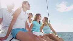 Smiling Caucasian Family Female Siblings Ocean Yacht Freedom Lifestyle Success - stock footage