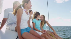 Portrait Caucasian Family Outdoor Lifestyle Luxury Yacht Happy Summer Vacation - stock footage