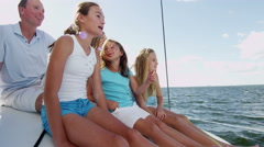 Caucasian Family Group Together Luxury Lifestyle Yacht Tourism Health Insurance - stock footage