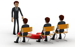 3d man teacher asking question to students concept - stock illustration