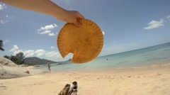 Jack Russell Terrier Puppy With Frisbee on Vacation at Beach Stock Footage