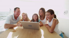 Caucasian Parents Young Daughters Luxury Yacht Life Wireless Communication Stock Footage