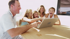 Young Caucasian Girls Parents Global Online Laptop Interactive Wireless Sailing - stock footage