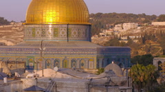 Panning shot of Close up time lapse of the Dome of the Rock as night falls Stock Footage