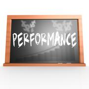 Black board with performance word - stock illustration
