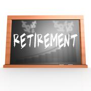 Black board with retirement word - stock illustration