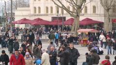 Turkish people in Eminonu Square Istanbul (Editorial) Stock Footage