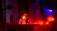 Artists performing fire performance - stock footage