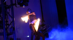 Artists performing fire performance Stock Footage