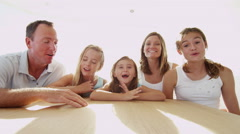 Caucasian Parents Daughters Luxury Yacht Life Skype Wireless Communication Stock Footage
