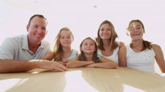 Young Caucasian Girls Parents Sailing Global Online Video Webcam Chat Wireless - stock footage