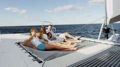 Young Caucasian Sisters Holiday Parents Group Tourism Yacht Sailing - stock footage