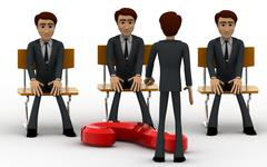 3d man teacher asking question to students concept Stock Illustration
