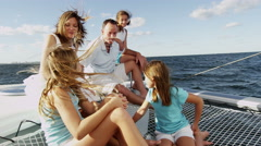 Portrait Caucasian Family Group Luxury Lifestyle Yacht Tourism Health Insurance - stock footage