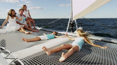 Outdoor Casual Living Modern Yacht Caucasian Parents Female Children Vacation Stock Footage