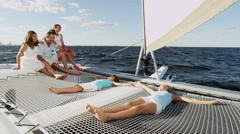 Caucasian Family Outdoor Sailing Lifestyle Financial Planning Summer Vacation Stock Footage