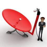 3d man with red dish antenna receiver concept - stock illustration
