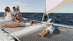 Smiling Caucasian Family Female Siblings Ocean Yacht Freedom Business Success - stock footage