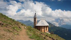 Dolomites, Col di Lana and chapel Stock Photos