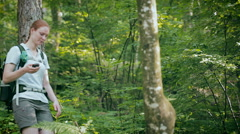 Hiker Navigating a Trail Stock Footage