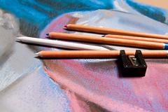 Stock Photo of Pencils pastel and original pastel drawing of still life.
