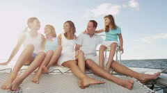 Caucasian Family Group Luxury Lifestyle Yacht Tourism Travel Health Insurance Stock Footage