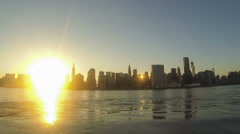 Time-lapse view of mid-town Manhattan in New York at sunset Stock Footage