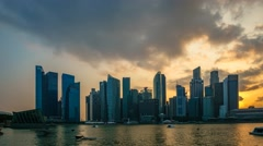 Dramatic Sunset - Singapore Cityscape Skyline Stock Footage